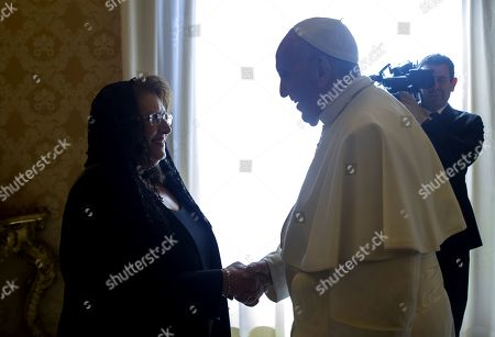 Pope Francis receiving Maltese President Marie Louise Coleiro Preca for a private audience at the Vatican