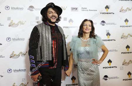 Philipp Kirkorov (L) and Russian singer Elena Sever pose during the 2nd award ceremony of the International Professional Music Award 'BraVo' in the field of popular music at the State Kremlin Palace in Moscow, Russia, 21 March 2019.