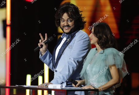 Philipp Kirkorov (L) and Elena Sever (R) host the 2nd award ceremony of the International Professional Music Award 'BraVo' in the field of popular music at the State Kremlin Palace in Moscow, Russia, 21 March 2019.
