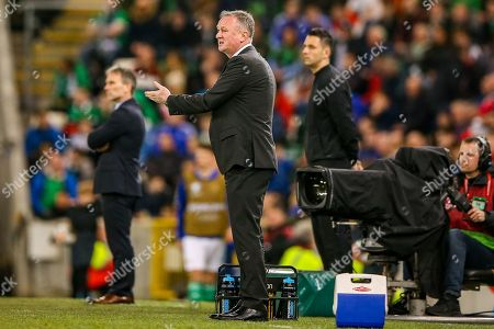 Northern Ireland Manager Michael O'Neill looks frustrated during the UEFA European 2020 Qualifier match between Northern Ireland and Estonia at National Football Stadium, Windsor Park