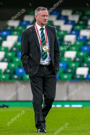 Northern Ireland Manager Michael O'Neill ahead of the UEFA European 2020 Qualifier match between Northern Ireland and Estonia at National Football Stadium, Windsor Park