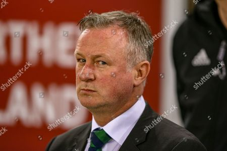 Stock Photo of Northern Ireland Manager Michael O'Neill during the UEFA European 2020 Qualifier match between Northern Ireland and Estonia at National Football Stadium, Windsor Park