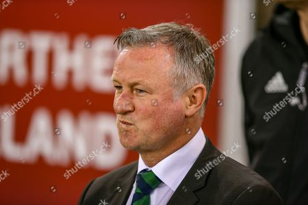 Stock Image of Northern Ireland Manager Michael O'Neill during the UEFA European 2020 Qualifier match between Northern Ireland and Estonia at National Football Stadium, Windsor Park