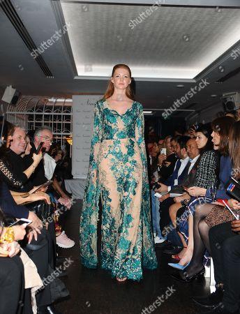 A model seen showcasing during the LFW Nina Naustdal s/s19 catwalk show.