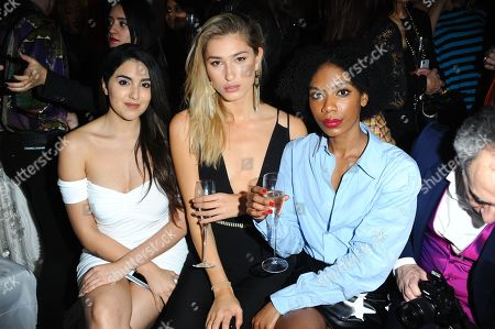 Claudia Visco, Lily Douse and Tonique Campbell are seen during the LFW Nina Naustdal s/s19 catwalk show.