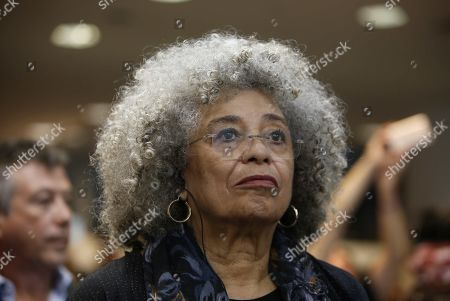 African-American philosopher and activist Angela Davis participates in the commemoration of the International Day for the Elimination of Racial Discrimination in Montevideo, Uruguay, 21 March 2019. The 75-year-old was received at the event as a rock star, as a long line of young Uruguayan and Brazilian women wanted to take out a selfi with her on arrival.