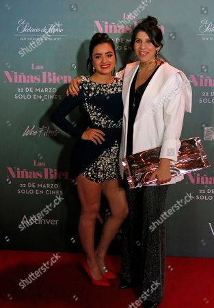 """Actress Paulina Gaitan, left, and film Director Alejandra Marquez pose on the red carpet of their film """"Las ninas bien"""" in Mexico City. The film, based on a book by Guadalupe Loaeza, premieres in Mexico on March 22"""