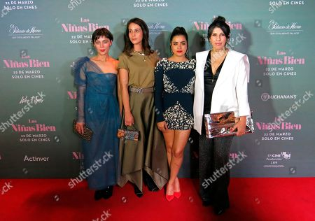 """Stock Picture of Actresses, from left, Ilse Salas, Cassandra Ciangherotti and Paulina Gaitan pose with film Director Alejandra Marquez on the red carpet of their film """"Las ninas bien"""" in Mexico City. The film, based on a book by Guadalupe Loaeza, premieres in Mexico on March 22"""