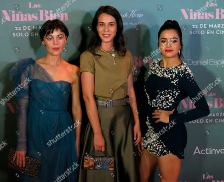 "Actresses, from left, Ilse Salas, Cassandra Ciangherotti and Paulina Gaitan pose on the red carpet of their film ""Las ninas bien"" in Mexico City. The film, based on a book by Guadalupe Loaeza, premieres in Mexico on March 22"