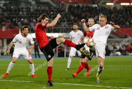 21.03.2019 Fußball, UEFA UEFA European Qualifiers EURO 2016, Vienna, Ernst Happel stadium, Austria - Polen, Marcel Sabitzer , Kamil Glik , Copyright DIENER / Philipp Schalber