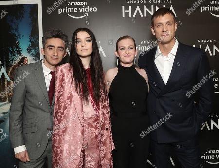 Writer and Executive Producer David Farr, Esme Creed-Miles, Mireille Enos and Joel Kinnaman attend the Amazon Studios Hanna Premiere at The Whitby hotell on March 21, 2019, in New York, NY.