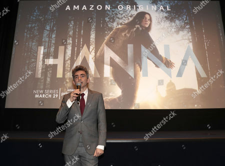 Writer and Executive Producer David Farr speaks onstage at the Amazon Studios Hanna Premiere at The Whitby hotell on March 21, 2019, in New York, NY.