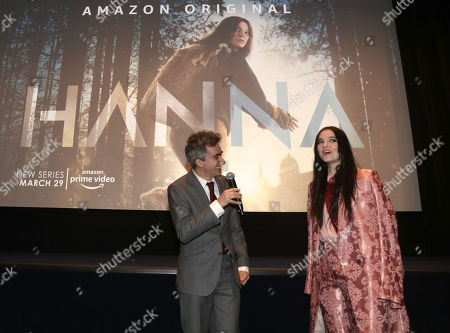 Writer and Executive Producer David Farr and Esme Creed-Miles speak onstage at the Amazon Studios Hanna Premiere at The Whitby hotell on March 21, 2019, in New York, NY.