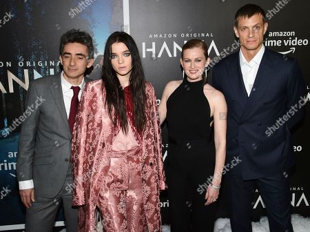 """David Farr, Esme Creed-Miles, Mireille Enos, Joel Kinnaman. Writer and executive producer David Farr, left, poses with actors Esme Creed-Miles, Mireille Enos and Joel Kinnaman at the premiere of Amazon Prime Video's """"Hannah"""" at The Whitby Hotel, in New York"""
