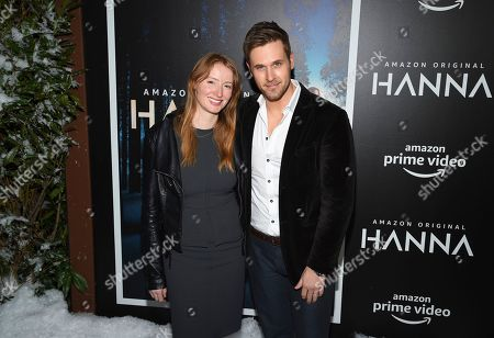"Stock Image of Kersti Bryan, Dan Amboyer. Actors Kersti Bryan, left, and Dan Amboyer attend the premiere of Amazon Prime Video's ""Hannah"" at The Whitby Hotel, in New York"
