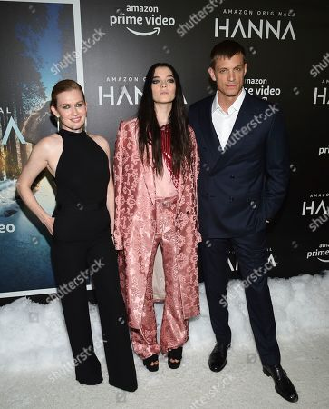 """Stock Picture of Mireille Enos, Esme Creed-Miles, Joel Kinnaman. Actors Mireille Enos, left, Esme Creed-Miles and Joel Kinnaman pose together at the premiere of Amazon Prime Video's """"Hannah"""" at The Whitby Hotel, in New York"""