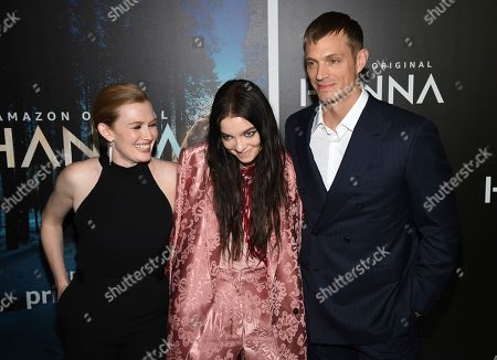"""Stock Photo of Mireille Enos, Esme Creed-Miles, Joel Kinnaman. Actors Mireille Enos, left, Esme Creed-Miles and Joel Kinnaman pose together at the premiere of Amazon Prime Video's """"Hannah"""" at The Whitby Hotel, in New York"""