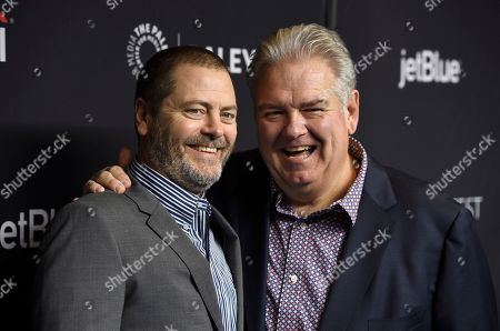 """Nick Offerman, Jim O'Heir. Nick Offerman, left, and Jim O'Heir arrive at the """"Parks and Recreation"""" 10th anniversary reunion during the 36th annual PaleyFest, at the Dolby Theatre in Los Angeles"""
