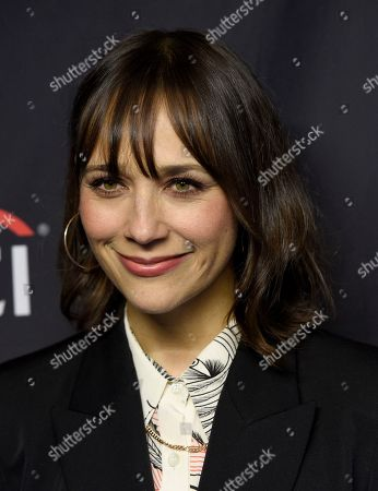 "Rashida Jones arrives at the ""Parks and Recreation"" 10th anniversary reunion during the 36th annual PaleyFest, at the Dolby Theatre in Los Angeles"