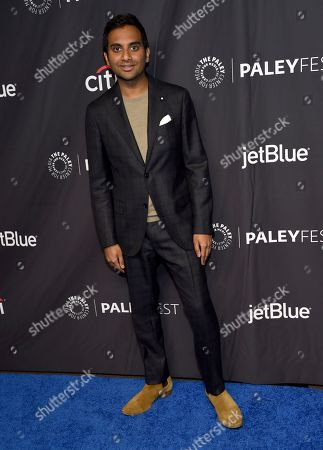 """Aziz Ansari arrives at the """"Parks and Recreation"""" 10th anniversary reunion during the 36th annual PaleyFest, at the Dolby Theatre in Los Angeles"""