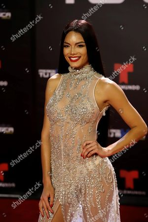 Stock Picture of Puerto Rican model, presenter and actress Zuleyka Rivera poses upon her arrival at the Tu Musica Urbano Awards in San Juan, Puerto Rico, 21 March 2019.