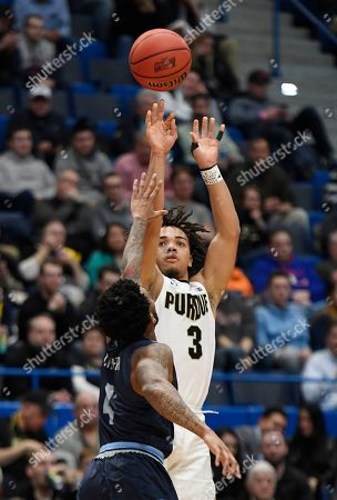 Purdue's Carsen Edwards shoots over Old Dominion's Ahmad Caver during the second half of a first round men's college basketball game against Old Dominion in the NCAA tournament, in Hartford, Conn