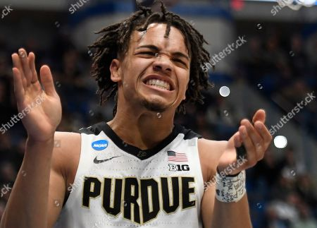 Purdue's Carsen Edwards reacts during the second half of a first round men's college basketball game against Old Dominion in the NCAA tournament, in Hartford, Conn