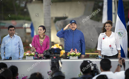 The Deputy Mayor of Managua Enrique Armas (L), Vice President of Nicaragua Rosario Murillo (2-R), President of Nicaragua Daniel Ortega (2-L) and the Mayor of Managua Reyna Rueda (R) participate in an inauguration ceremony of an overpass, as part of the celebration of the bicentennial of the city, south of Managua, Nicaragua, 21 March 2019. Ortega advocated during the event for peace in the country, after civil unrest broke out in April 2018 and has left hundreds dead and arrested.