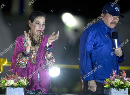 The President of Nicaragua Daniel Ortega (R) and the vice President Rosario Murillo (L) participate in an inauguration ceremony of an overpass, as part of the celebration of the bicentennial of the city, south of Managua, Nicaragua, 21 March 2019. Ortega advocated during the event for peace in the country, after civil unrest broke out in April 2018 and has left hundreds dead and arrested.