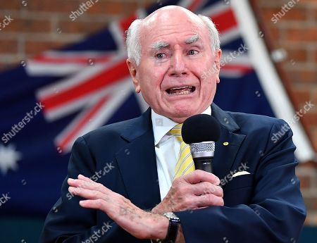 Australian Former Prime Minister John Howard reacts during a visit with senior citizens at the Penrith Senior Citizens club in Sydney, Australia, 22 March 2019. New South Wales voters will head to the polls in the state election on 23 March.
