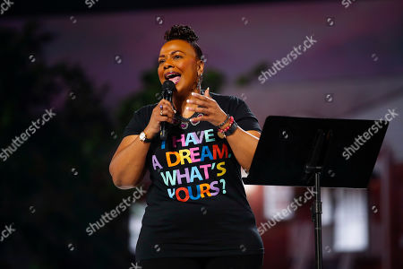 Rev. Bernice King delivers a monologue about her father, Dr. Martin Luther King Jr., and his vision of the Beloved Community at the inaugural Beloved Benefit at Mercedes-Benz Stadium, in Atlanta