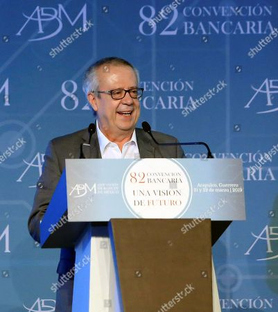 Secretary of Finance and Public Credit Carlos Urzua participates in the inauguration of the 82nd annual meeting of the Mexican bank in Acapulco, state of Guerrero, Mexico, 21 March 2019. Governor of the Bank of Mexico Alejandro Diaz de Leon said that Mexico will achieve its goal of reducing inflation to 3 percent in the middle of next year thanks to the monetary policy that is being carried out.