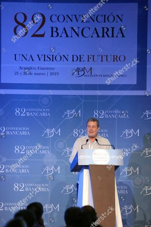 President of the Association of Banks of Mexico (ABM) Marcos Martinez Gavica participates in the inauguration of the 82nd annual meeting of the Mexican bank in Acapulco, state of Guerrero, Mexico, 21 March 2019. Governor of the Bank of Mexico Alejandro Diaz de Leon said that Mexico will achieve its goal of reducing inflation to 3 percent in the middle of next year thanks to the monetary policy that is being carried out.