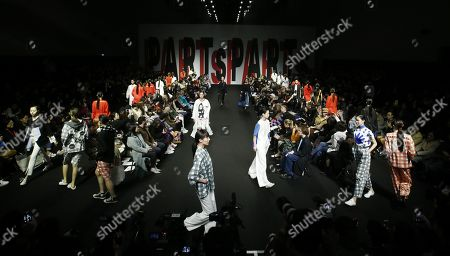 Stock Image of Models exhibit creations by South Korean designer Lim Sun-ok of PARTs-PARTs during the Fall/Winter 2019 Seoul Fashion Week at the Dongdaemun design Plaza in Seoul, South Korea, 22 March 2019. The fashion week runs from 19 to 24 March.
