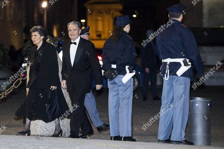 Former Italian Prime Minister, Romano Prodi, arrives at the Quirinale Palace for a dinner in honor of the visit of Chinese President Xi Jinping held by Italian President Sergio Mattarella in Rome, Italy, 22 March 2019. President Xi Jinping is in Italy to sign a memorandum of understanding to make Italy the first Group of Seven leading democracies to join China's ambitious Belt and Road infrastructure project.