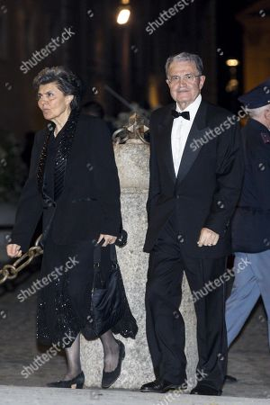 Former Italian Prime Minister, Romano Prodi (R), arrives at the Quirinale Palace for a dinner in honor of the visit of Chinese President Xi Jinping held by Italian President Sergio Mattarella in Rome, Italy, 22 March 2019. President Xi Jinping is in Italy to sign a memorandum of understanding to make Italy the first Group of Seven leading democracies to join China's ambitious Belt and Road infrastructure project.