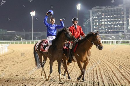 Stock Picture of Thunder Snow (IRE) ridden by Christophe Soumillion wins the Dubai World Cup Sponsored By Emirates Airline 10F (Group 1), race 9, at Dubai World Cup, Meydan, Dubai.