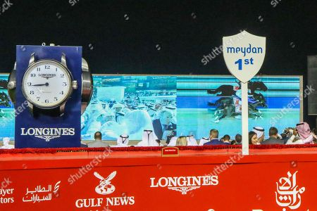 "Stock Image of Dubai World Cup.  Photo Finish on the video screen at 8:44 p.m. shows the ""by a nose"" nose victory   of Thunder Snow (IRE) ridden by Christophe Soumillion over GRONKOWSKI (USA) in the Dubai World Cup Sponsored By Emirates Airline 10F (Group 1), race 9, at Dubai World Cup, Meydan, Dubai."