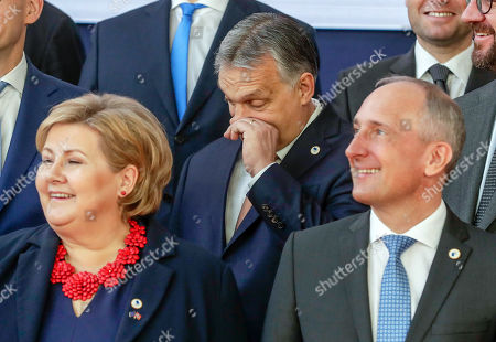 (L-R) Norway's Prime Minister Erna Solberg, Hungarian Prime Minister Viktor Orban and Prime Minister of Liechtenstein Adrian Hasler attend a family photo at the European Council Summit in Brussels, Belgium, 22 March 2019. European Union leaders on 21 March agreed to extend Brexit untill 22 May 2019 if British MPs will approve Brexit agreement next week. If British Prime Minister May will lose the vote on Brexit deal for the third time, the delay will be until 12 April.