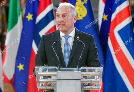 Prime Minister of Liechtenstein Adrian Hasler delivers a speech ahead of a family photo at the European Council Summit in Brussels, Belgium, 22 March 2019. European Union leaders on 21 March agreed to extend Brexit untill 22 May 2019 if British MPs will approve Brexit agreement next week. If British Prime Minister May will lose the vote on Brexit deal for the third time, the delay will be until 12 April.