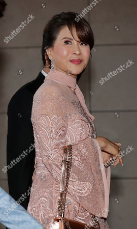 "Princess Ubolratana of Thailand arrives to attend the wedding of former Thai Prime Minister Thaksin Shinawatra's youngest daughter Paetongtarn ""Ing"" Shinawatra at a hotel in Hong Kong"