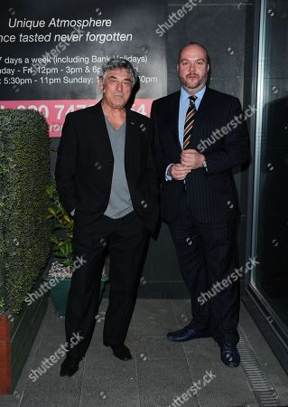 Bill Murray and Jonathan Sothcott, arriving at Pepenero restaurant in Canning Town favoured by the former Eastender and other members of Eastenders cast