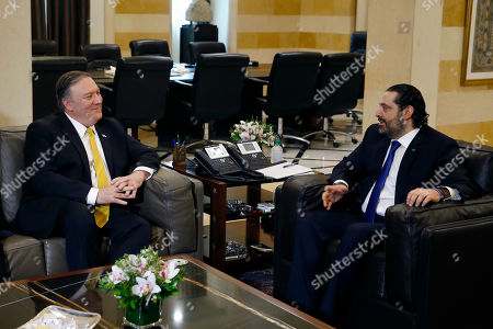 Saad Hariri, Mike Pompeo. Lebanese Prime Minister Saad Hariri, right, meets with U.S. Secretary of State Mike Pompeo, in Beirut, Lebanon,. Pompeo arrived in Lebanon Friday amid strong regional condemnation of U.S. President Donald Trump's declaration about U.S. recognition of Israel's sovereignty over the Israeli-occupied Golan Heights
