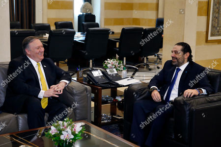 Saad Hariri, Mike Pompeo. Lebanese Prime Minister Saad Hariri, right, meets with U.S. Secretary of State Mike Pompeo, left, in Beirut, Lebanon,. Mike Pompeo arrived in Lebanon on Friday amid strong regional condemnation of President Donald Trump's declaration that it's time the U.S. recognized Israel's sovereignty over the Israeli-occupied Golan Heights