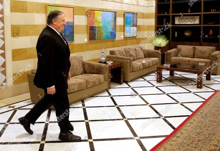 U.S. Secretary of State Mike Pompeo, arrives at the Government House to meets with Lebanese Prime Minister Saad Hariri, in Beirut, Lebanon,. Mike Pompeo arrived in Lebanon on Friday amid strong regional condemnation of President Donald Trump's declaration that it's time the U.S. recognized Israel's sovereignty over the Israeli-occupied Golan Heights