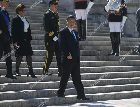 Chinese President Xi Jinping with Italian Minister of defence Elisabetta Trenta during the visit at Altare della Patria to pay tribute to the unknown soldier