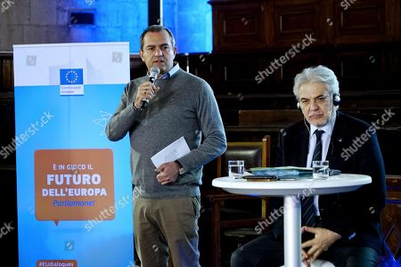 Naples mayor Luigi de Magistris (L) and EU Commissioner for Humanitarian Aid and Crisis Management Christos Stylianides (R) at sala dei Baroni hall of Maschio Angioino in Naples, Italy, 22 March 2019. Christos Stylianides took part in a dialogue meeting with citizens and students entitled 'Solidarity in a Europe that protects: strengthening civil protection by rescEU'.