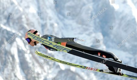 Stefan Kraft of Austria in action during the Ski Flying HS240 individual competition of the FIS Ski Jumping World Cup finals in Planica, Slovenia, 22 March 2019.