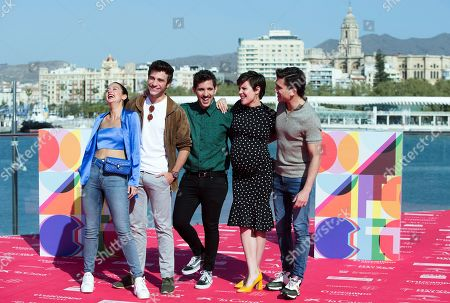 Spanish filmmaker Jota Linares (C) poses with actors and cast members Maria Pedraza (L), Pol Monen (2-L), Andrea Ros (2-R) and Jaime Lorente during the presentation of the film 'A quien te llevarias a una isla desierta?' (Lit.: Who Would You Take to a Desert Island?) at the Malaga International Film Festival, in Malaga, Spain, 22 March 2019. The festival takes place from 15 to 24 March.