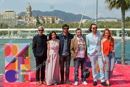 Spanish filmmaker Alfonso Cortes-Cavanillas (3-R) poses next to actors and cast members Imanol Arias (L), Marian Alvarez (2-L), Hugo Silva (3-L), Asier Etxeandia (2-R) and Olimpia Melinte (R) during the presentation of the movie 'Sordo' in the framework of the Official Section of the Malaga International Film Festival, in Malaga, Spain, 22 March 2019. The festival takes place from 15 to 24 March.